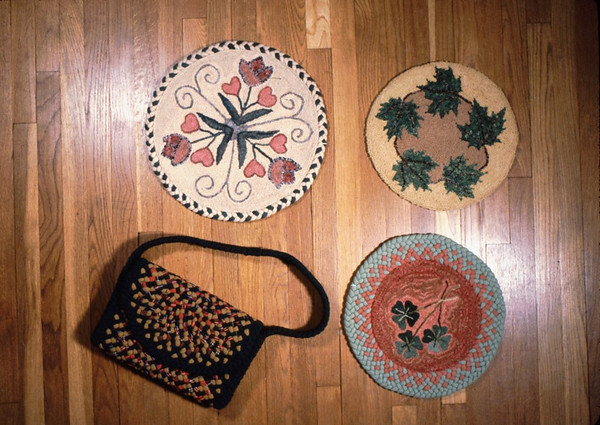Braided Purse and two examples of Hooked Rugs with Braided Edges