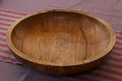 Stor dreia bolle i ask, 40 cm diameter.