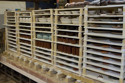 A loaded kiln cooling down after firing.