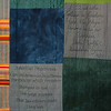 "Detail from  <a href=""http://www.alechimwich.com/Arts-and-Crafts/Heather-Williams-Quilts/i-KVXtrfs"">this</a> quilt. <br><br>   This detail shows an example of <a href=""http://en.wikipedia.org/wiki/Kente_cloth"">Kente cloth</a>.  The patterns and colors in this type of cloth are both significant and symbolic. <br><br> The upper text panel reads <br> ""... but we who believe in freedom,  <br> took the Negars  <br>among us as our  <br>brothers.  <br> John Rolfe <br> Jamestown, Virginia  <br> 1619"" <br><br> The lower text panel reads <br><br> ""American Heartbreak <br><br> I am the American Heartbreak <br> The rock on which freedom <br> Stumped its toe <br> The great mistake <br> That Jamestown made <br> long ago <br>  Langston Hughes 1951"""