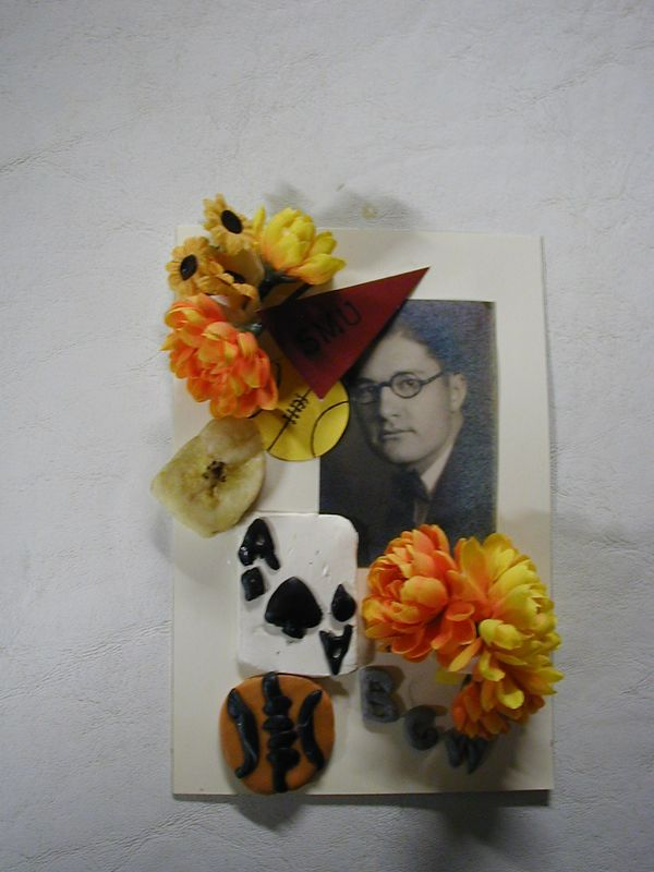 """2002- A 4"""" x 6"""" handmade card honoring the deceased father of one of the LADAP members."""