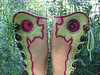 "There are days when I wonder, ""Where did that lime green hide go?""  Then I remember...<br /> This lovely artist/moccasin wearer, designed these fun pieces for me to put into her boots.  Collaborative art - or 'playing art' as my son says.<br /> By the way, the lime green hide was a one time thing - darn!  You never know what treasures you will find when you root through the stacks at the Napa Hide and Leather House."