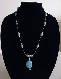 Illusion Necklace, Howlite Turquoise, Tibetan Silver