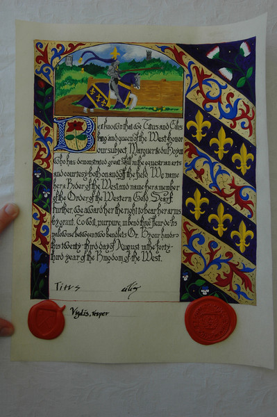Calligraphy and Illumination by Johanna. This is her first scroll.