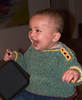 My grandson, Jack,  in a chenille sweater. Very soft to knit!  2007.