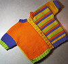 A colorful modern baby sweater for Finnegan, a great-nephew.  2010.