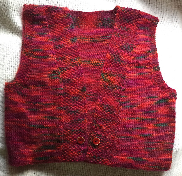 This vest came about because the mohair yarn is luscious, although, the photo doesn't do it justice.  I did make a few departures from the original pattern.  April, 2017.