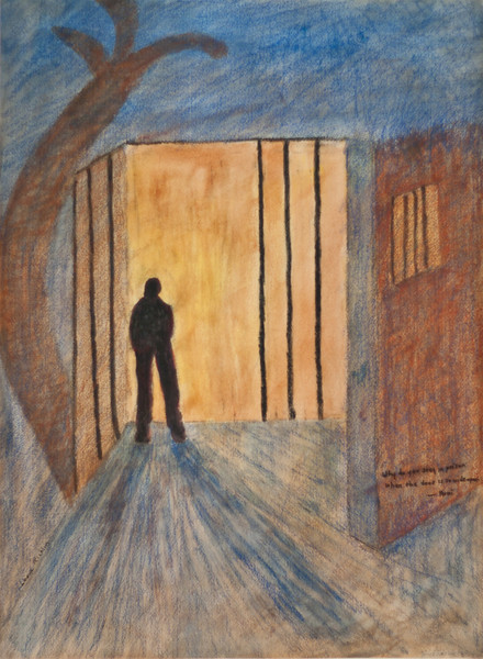"""Why do you stay in prison when the door is so wide open?"" <br /> Media: water color & crayon 22 1/2"" x161/2""<br /> NFS"