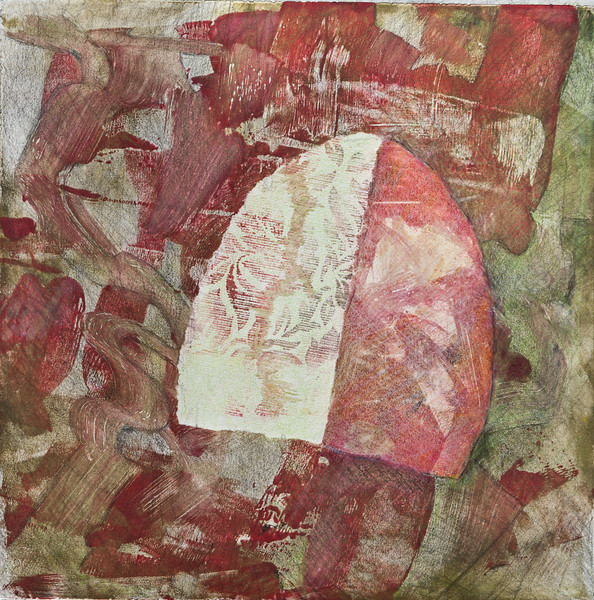 "Message from the Other Side<br /> Mixed Media (Monoprint, crayon & graphite) 11 3/4""x11 3/4""<br /> $250"