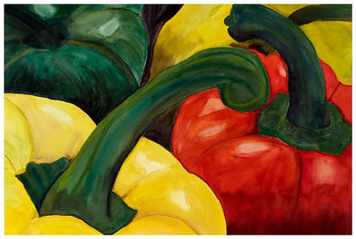 Bell Peppers Watercolor on watercolor paper c. 2003 22 inches x 30 inches. This is the first in a series of fruit and vegetable-themed paintings.  This was painted based on a photograph by/with permission from Photodude (photodude.com).