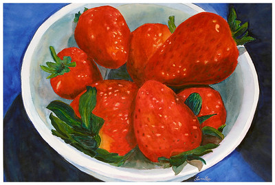 Strawberries Watercolor on 300 pound Arches watercolor paper c. 2003 22 inches x 30 inches. Fourth in a series of fruit and vegetable-themed paintings.