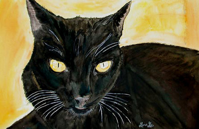 Rainman Watercolor on 300 pound Arches watercolor paper c. 2003 22 inches x 15 inches Rainman was my pet cat. He passed away.