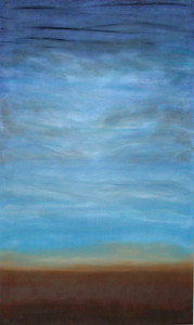 Big Blue Oil on canvas c. 2002 60 inches x 32 inches This is a scene of sky and earth.  My first abstract landscape.