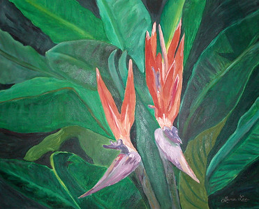 Bird of Paradise Winsor & Newton Water-mixable oil paint c. 2003 31 inches x 24 inches This is based off of a photo of bird of paradise taken at Balboa park.