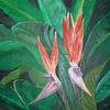 Bird of Paradise<br /> Winsor & Newton Water-mixable oil paint c. 2003<br /> 31 inches x 24 inches<br /> This is based off of a photo of bird of paradise taken at Balboa park.