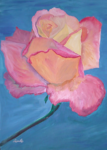 Pink Rose Winsor & Newton Water-mixable oil paint c. 2003 17 inches x 26 inches This is based off of a photo of a rose taken at the Rose Garden of Balboa park.