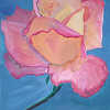 Pink Rose<br /> Winsor & Newton Water-mixable oil paint c. 2003<br /> 17 inches x 26 inches<br /> This is based off of a photo of a rose taken at the Rose Garden of Balboa park.