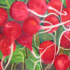 Organic Radishes<br /> Watercolor on 300 pound Arches watercolor paper c. 2004<br /> 22 inches x 30 inches<br /> This is based off of a photo of organic radishes from Jimbos grocery.