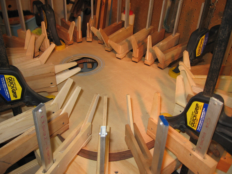 Gluing the top. It takes about 30 clamps.