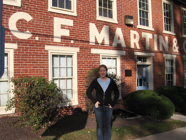 The old factory building of C.F. Martin & Co. Guitars, Nazareth, PA. Lydia and Rob went to choose guitar parts, 2007.