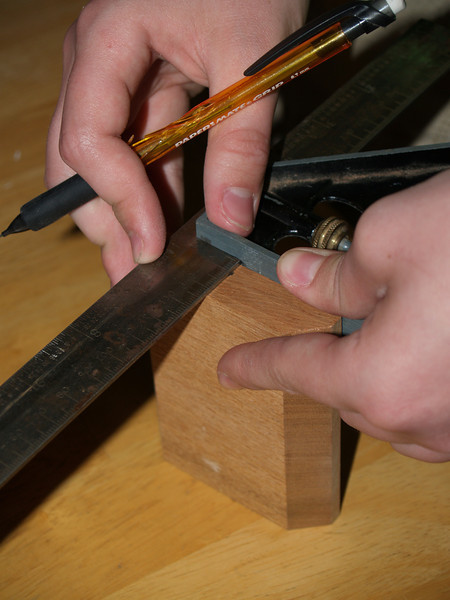 Marking the center line on the tail block.