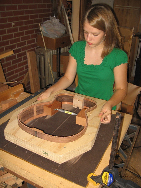 Sanding the top of the sides on the flat back of the sanding dish.