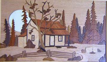 WOOD MARQUETERIE - WOOD CABIN