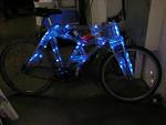 Plexiglass bike, ideal for Burning Man at night.