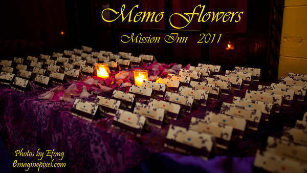 Memo Flowers and Gifts wedding presentation at Mission Inn