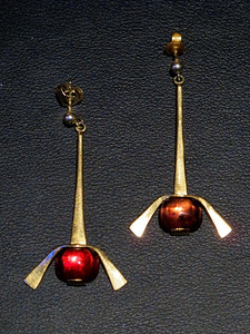 Earrings, yellow gold 585, Rubelite - Tourmaline