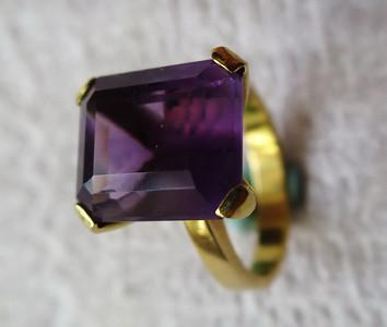 Ring, gult gull 585 ametyst