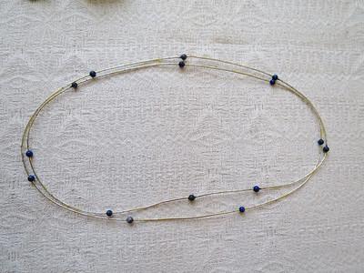 Halskjede gull, sølv, lapis lazuli