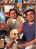 """Leonardo Linares (on the right) is the grandson of Don Pedro Linares, creator of the alebrije art form in 1936 - strange images that emerge from the imagination. How alebrijes came to be is a beautiful story of which is family is very proud. Tails like those of dragons painted in a multitude of colors that accentuate their horrifying appearance and inject them with a bit of humor and tenderness. Alebrijes, celestial and diabolical creatures. Dark yet playful. Seductive yet repulsive. Fruit of the imagination of Pedro Linares, indisputable master of the art of cartoneria, the creation of sculptures from layers of paper. The unique style of Don Pedro and Leonardo Linares has earned them a place in the folkart collector's bible, """"Great Masters of Mexican Folk Art, """" published by Fomento Cultural Banamex.  Over 80 years ago, when his grandfather was suffering from a deadly illness he had a dream that he was in an unfamiliar place where there were rare animals, trees, rocks, clouds, animals changing shapes with horns, claws and wings and he heard the word over and over, """"alebrije, alebrije, alebrije."""" He was not afraid because he knew these creatures were good. When he awoke, he found himself at home again and his infirmity was cured. Don Pedro had already worked with clay, wood, reeds, etc. and he felt this overwhelming need to recreate the figures he saw in his dream."""