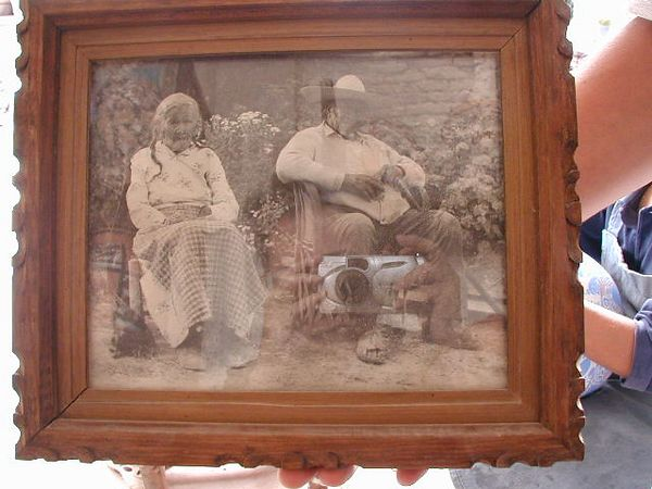 This family photo of the grandparents of Jose Bernabe hangs in the work shop to honor their heritage.