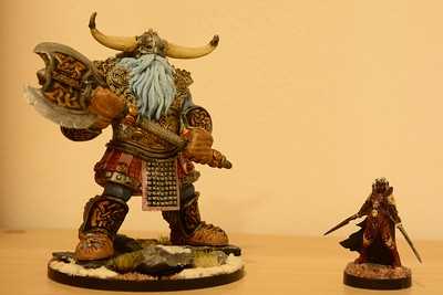 Reaper Bones Frost Giant Warrior and female Drow. (124-125)
