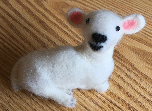 Yay! I've discovered needle felting.  This lamb is project #2. July, 2017.