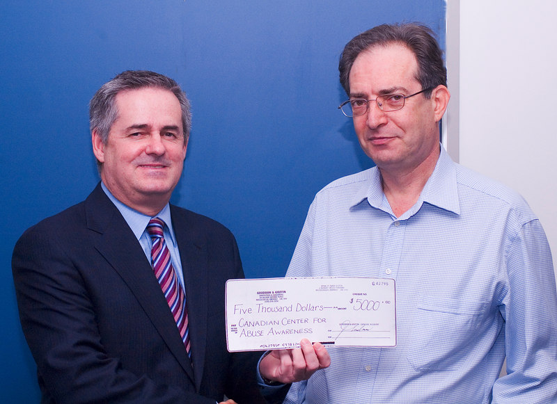 Tom Walsh & Jack Goodman , $5k cheque from G & G to Abuse Awareness , thanks Jack
