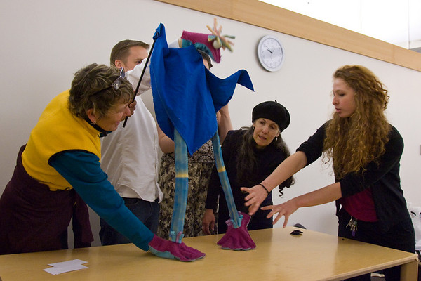 8th Annual No Strings Attached Puppet Festival - Emily (far right) of Tears of Joy leading a Puppet Manipulations & Found Object Workshop