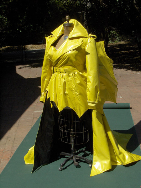 """The Wiz""- Evilene...Designed by Paul Tazwell, patterned by Gay Crusius...There were several of us involved in constructing this trenchcoat for a production of The Wiz at La Jolla Playhouse."