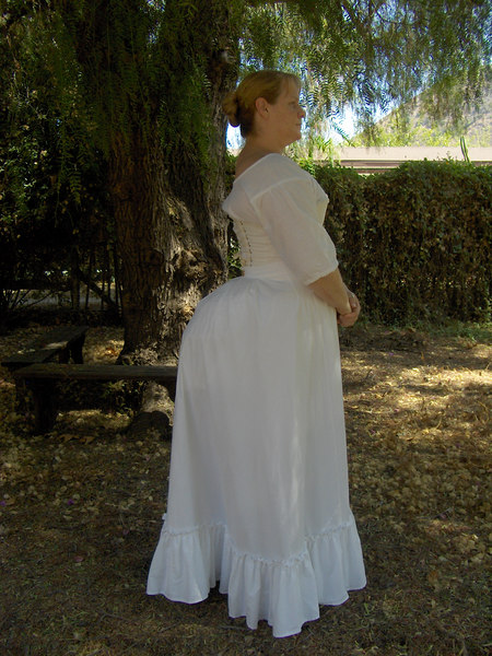 Victorian Underthings... Side view of previous photo, but with petticoat on over the bustle pad.  Petticoat from purchased pattern. Now I just have to finish the dress!