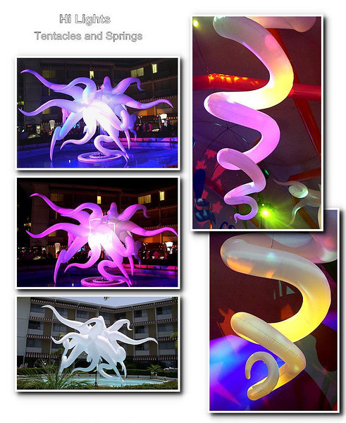 "The ""Tentacle"" and ""Springs"" were presented to me as rough sketches  by the company president, which I then turned into sellable product for the company.  I developed the pattern shapes without use of a computer. The Spring is about 15 feet tall."
