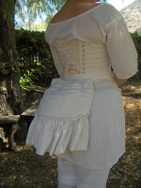 Victorian Underthings... Back view of my corset, shift, and bustle pad.  Bustle pad was made using purchased pattern; corset and shift are my own patterns.