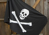Arrrrr..a 3' x 5' appliqued pirate flag made of 100% linen!  Double sided, with the back side a reverse of the front. Aug. 2010