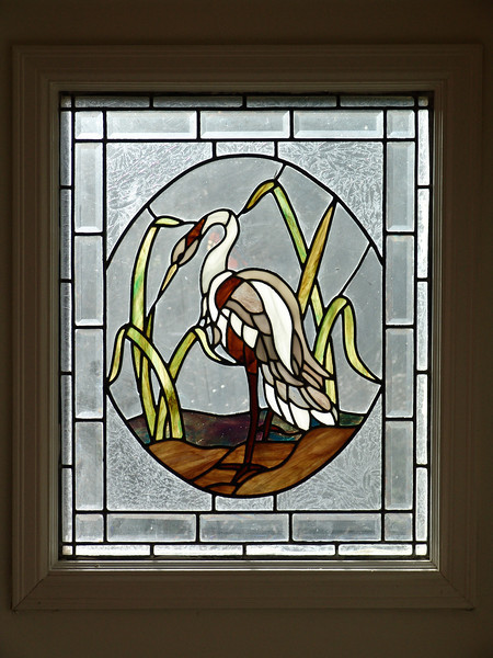 UPSTAIRS WINDOW LEADED GLASS EGRET