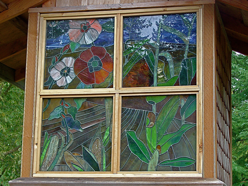 LEADED GLASS PANELS IN DOVE HOUSE
