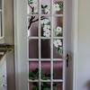 BEDROOM DOOR FUSED GLASS<br /> DOGWOOD ABOVE TRILLIUM