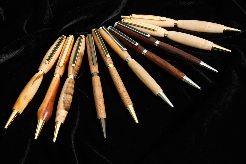 Pens of various wood and shapes