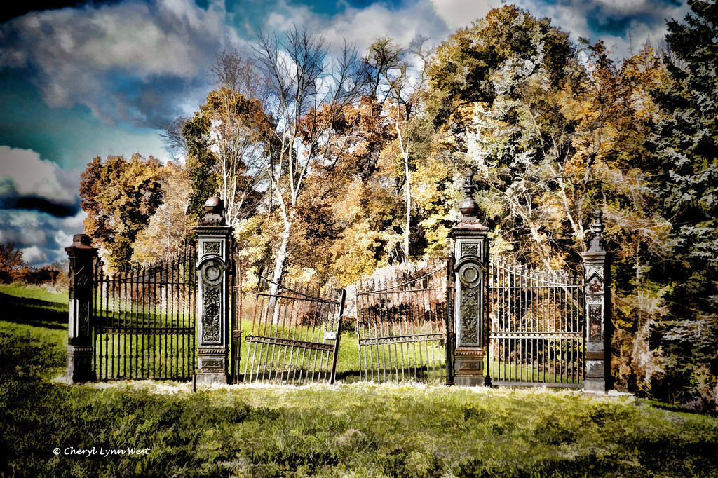 Only the front gate remains at a cemetery in Pittsburgh, PA.