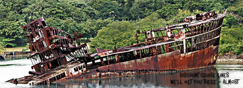 Wrecked ship off the shore of Roatan, Honduras