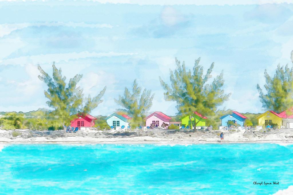 Beach cabanas in Princess Cays, Bahama